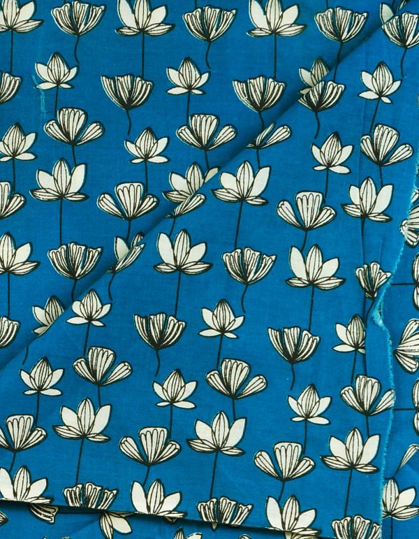 Blue Pure Cotton Printed Fabric(1MTR)