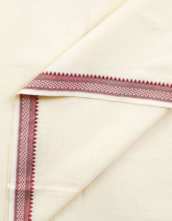 Online Shopping for Cream Pure Mangalagiri Cotton Fabric(1MTR) with weaves from Andhra Pradesh at Unnatisilks.com, India