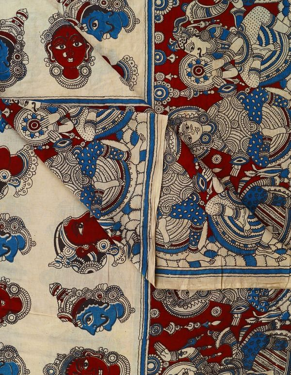 Cream Pure Kalamkari Cotton Fabric(90CM)
