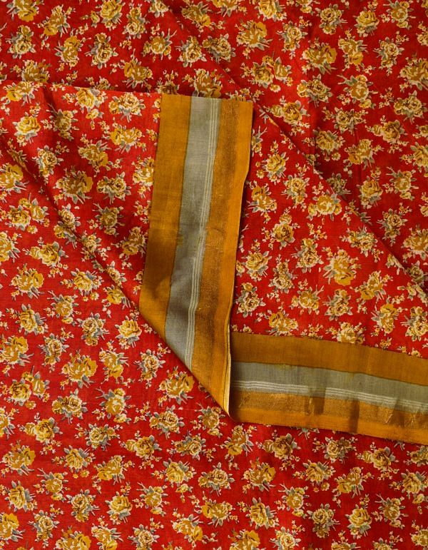 Online Shopping for Red Chanderi Sico Fabric (1MTR) with fancy prints from Madhya Pradesh at Unnatisilks.com, India
