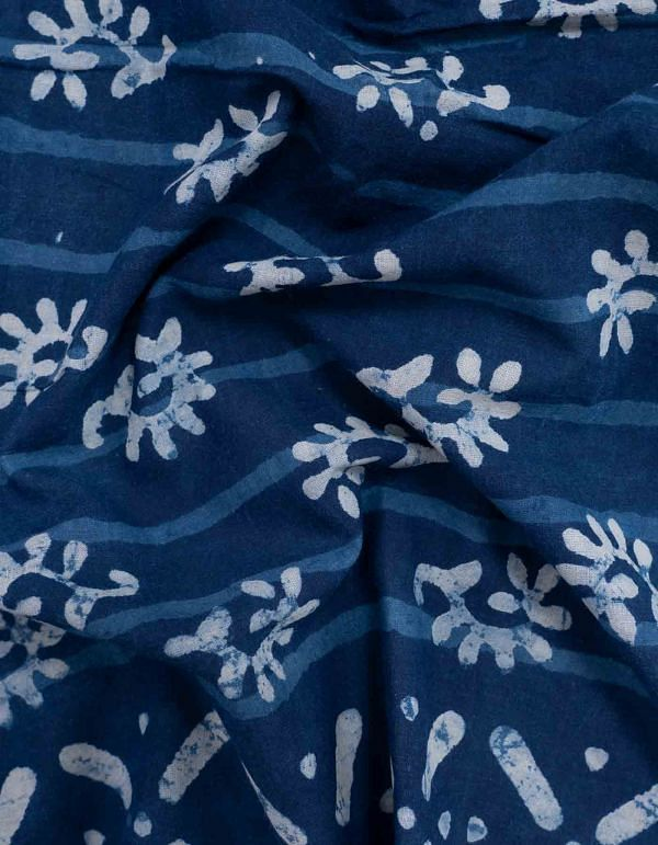 Online Shopping for Blue Dabu Printed Pure Rajasthani Cotton Fabric  with Dabu prints from Rajasthan at Unnatisilks.com India