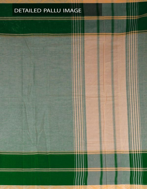Green Pure Handloom Chettinad Cotton Plain Saree