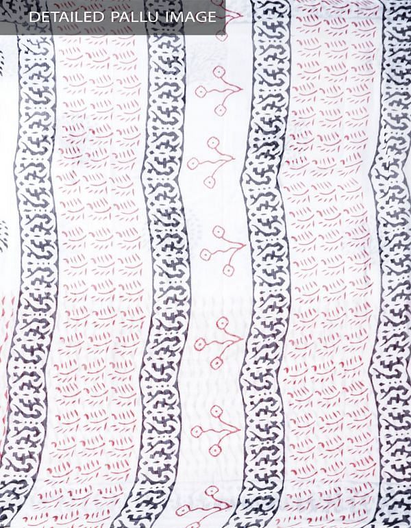 Online Shopping for White Pure Mulmul Kota Cotton Saree with Hand Block Prints with Hand Block Prints from Rajasthan at Unnatisilks.comIndia