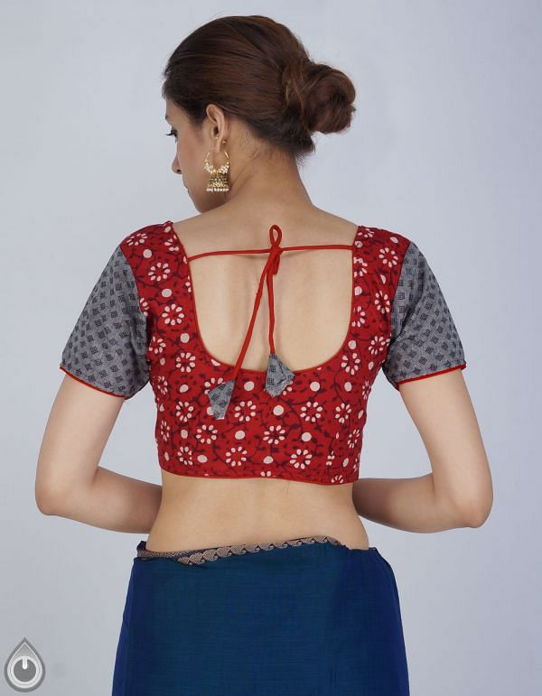 PKB225-Red-Grey Pure Rajasthani Cotton Stitched Blouse