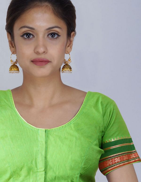 PKB239-Green Pure Kanchi Cotton Stitched Blouse