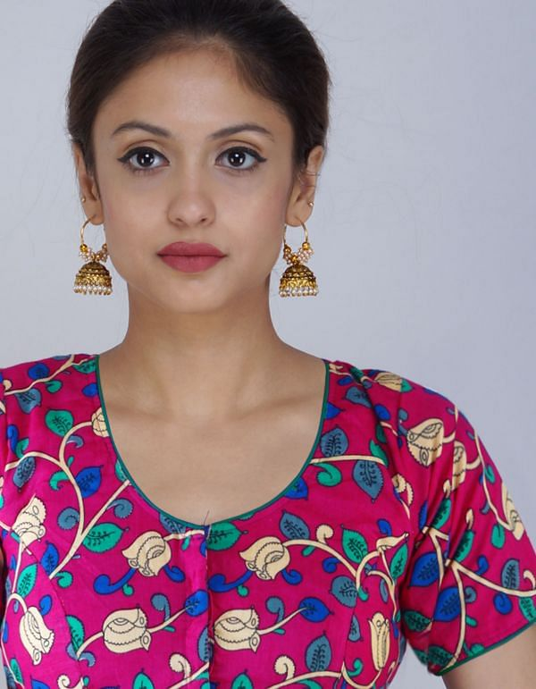 PKB261-Pink Pure Floral Kalamkari Cotton Stitched Blouse