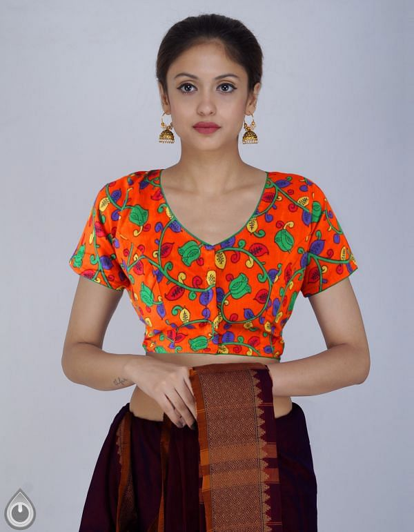 PKB272-Orange Pure Floral Kalamkari Cotton Stitched Blouse