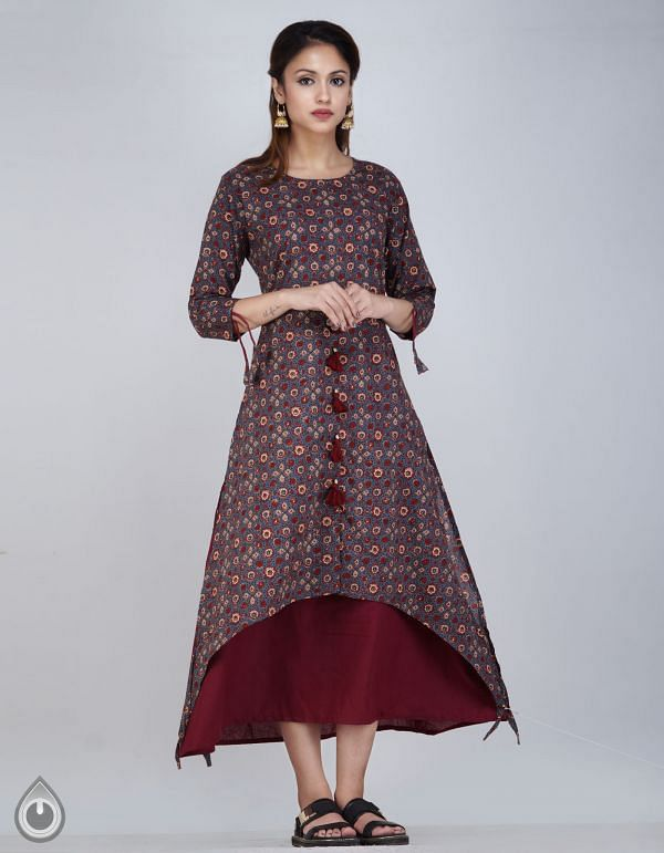 Online Shopping for Grey-Maroon Pure Ajrakh Printed Cotton Kurta with Layered Panels with Ajrakh Prints from Rajasthan at Unnatisilks.com, India