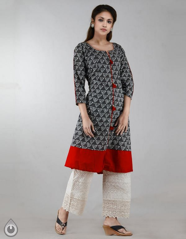 Online Shopping for Grey-Red Pure Bagru Printed Cotton Kurta With Tassels with Bagru Prints from Rajasthan at Unnatisilks.com, India