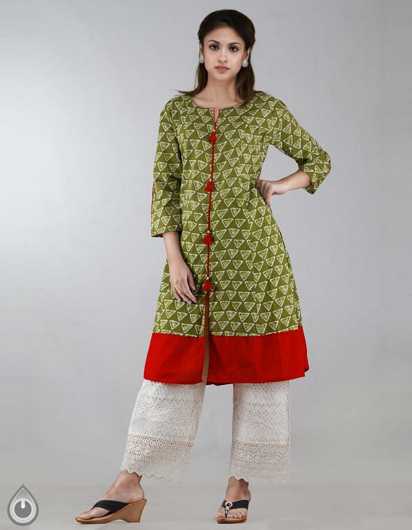 Online Shopping for Green-Red Pure Bagru Printed Cotton Kurta With Tassels with Bagru Prints from Rajasthan at Unnatisilks.com, India