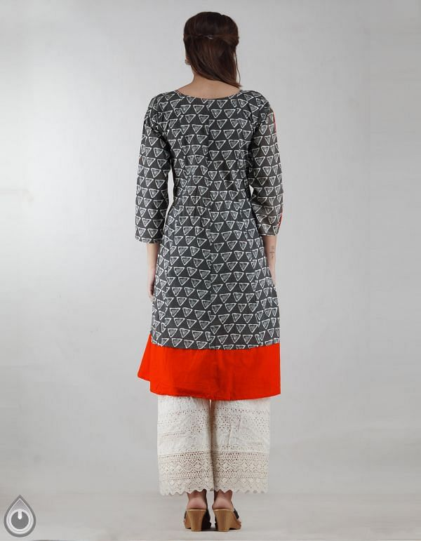 Online Shopping for Grey-Orange Pure Bagru Printed Cotton Kurta With Tassels with Bagru Prints from Rajasthan at Unnatisilks.com, India