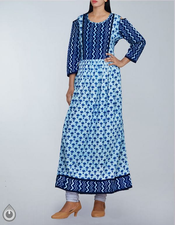 Online Shopping for Cream-Indigo Pure Bagru Cotton Long Kurta With Off Shoulder with Bagru Prints from  at Unnatisilks.com, India