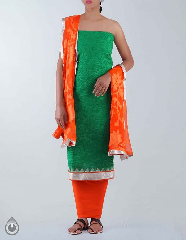 Unstitched Green-Orange Pure Chanderi Silk Chudidar-PR1530