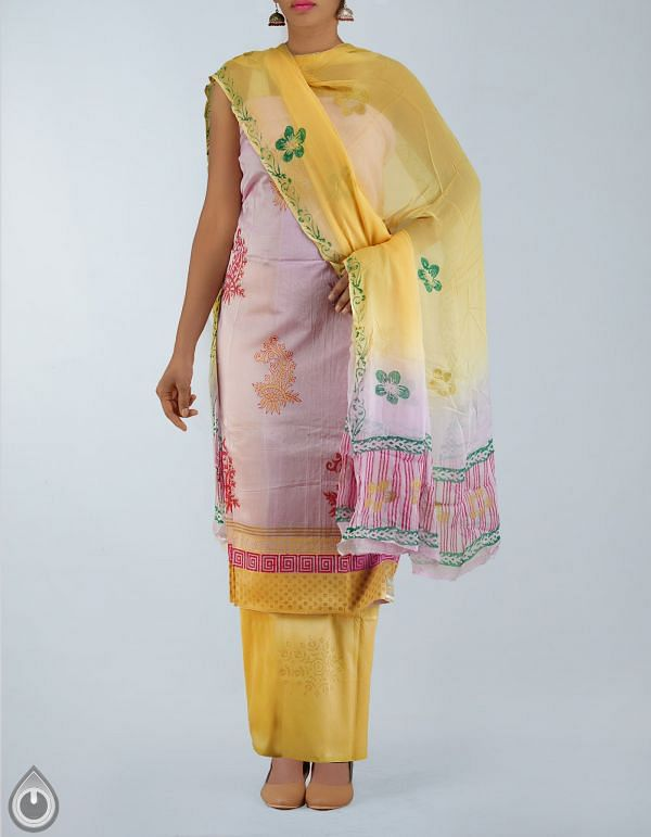 Online Shopping for Unstitched baby pink chanderi silk salwar kameez with Patch Border from Madhya Pradesh at Unnatisilks.com, India