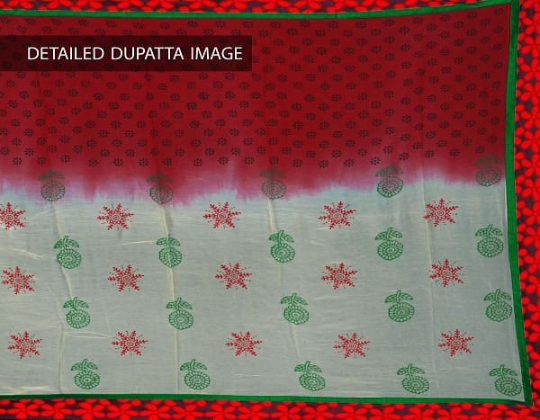 Online Shopping for Unstitched Cream-Red Kota Doria Tissue Silk Chudidar with Block Prints from Rajasthan at Unnatisilks.com, India