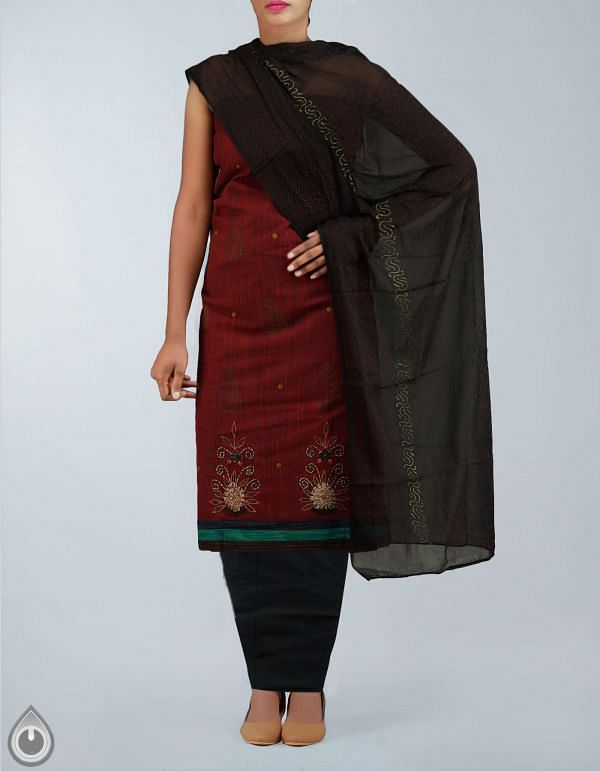 Unstitched Maroon-Black Cotton Salwar Kameez-PR2648