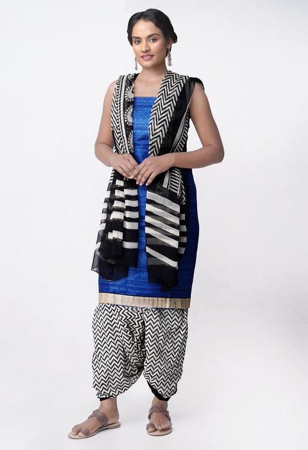 Online Shopping for Unstitched Blue-Cream Pure Tussar Ghicha Silk Salwar Kameez with Block Prints from Chhattisgarh at Unnatisilks.com, India