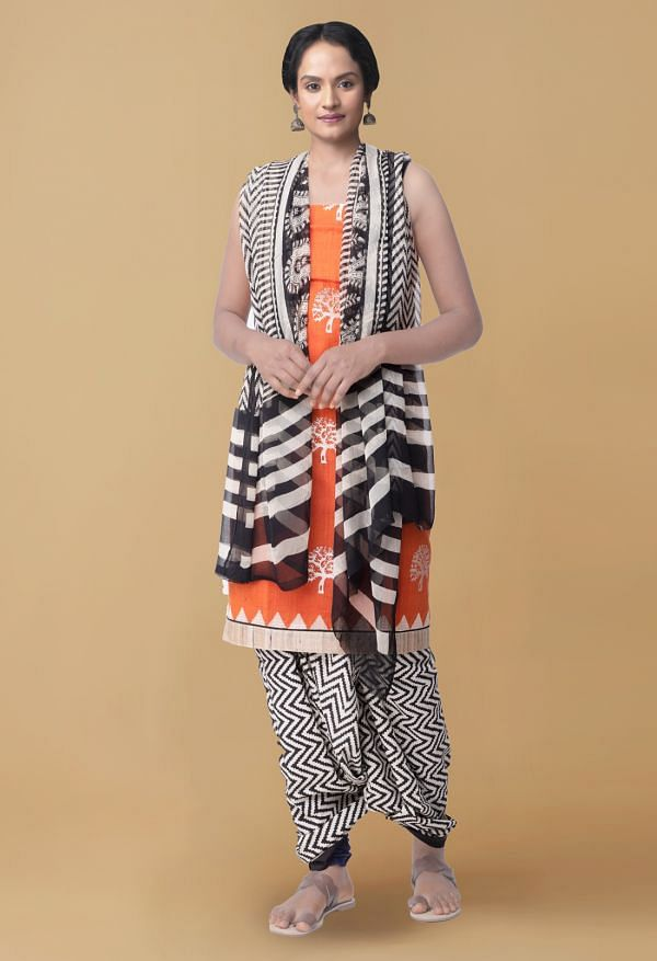 Online Shopping for Unstitched Orange-Cream Pure Handloom Mangalagiri Cotton Salwar Kameez with Embroidery Work from Andhra Pradesh at Unnatisilks.com, India