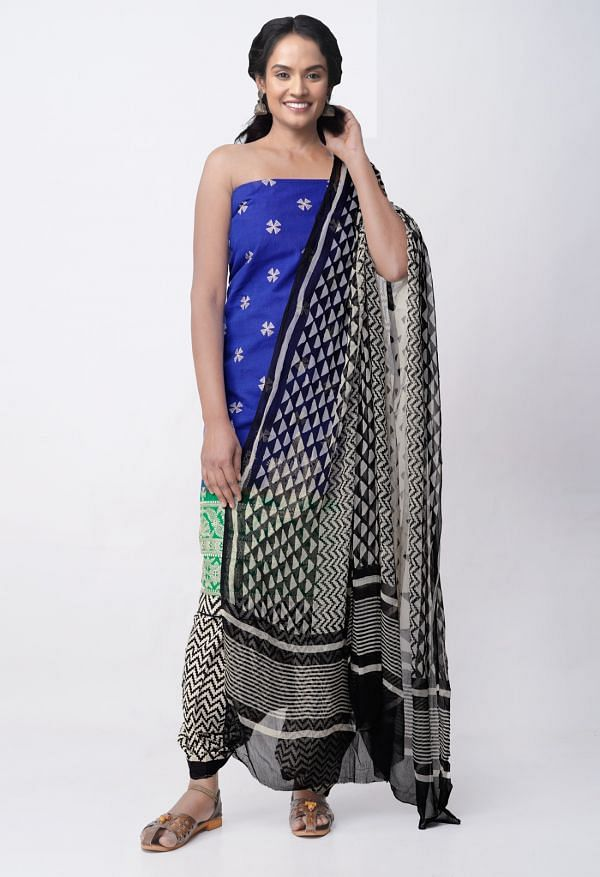 Online Shopping for Unstitched Blue-Cream Pure Handloom Rajkot Cotton Salwar Kameez with Embroidery Work from Gujarat at Unnatisilks.com, India