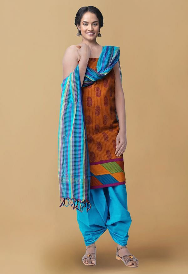 Online Shopping for Unstitched Yellow-Blue Pure Kutch Mangalagiri Cotton fusion Salwar Suit with Block Prints from Andhra Pradesh at Unnatisilks.com, India