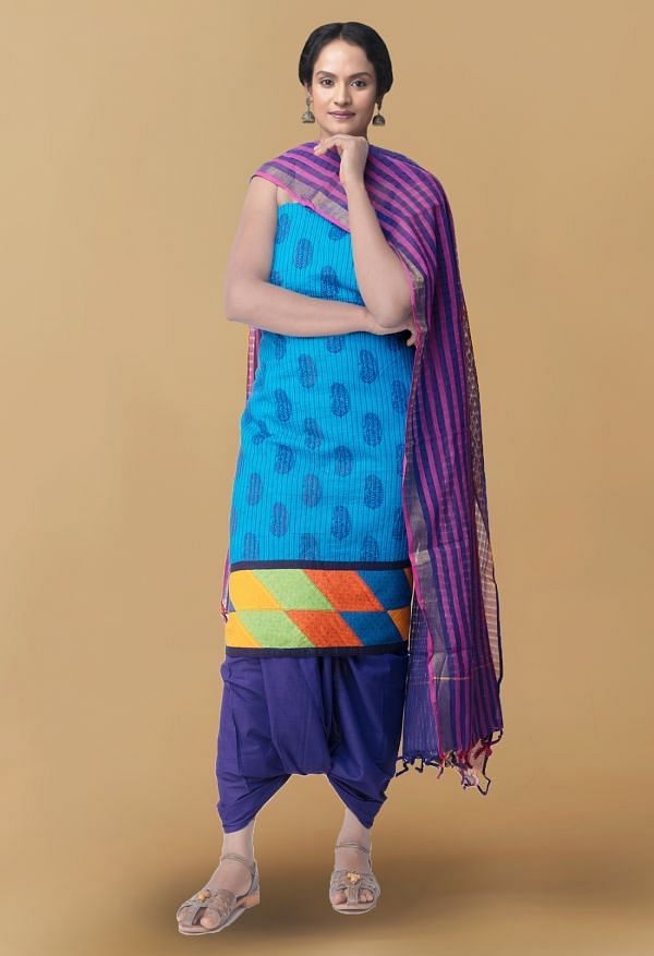 Online Shopping for Unstitched Blue Pure Kutch Mangalagiri Cotton Fusion Salwar Kameez with Block Prints from Andhra Pradesh at Unnatisilks.com, India