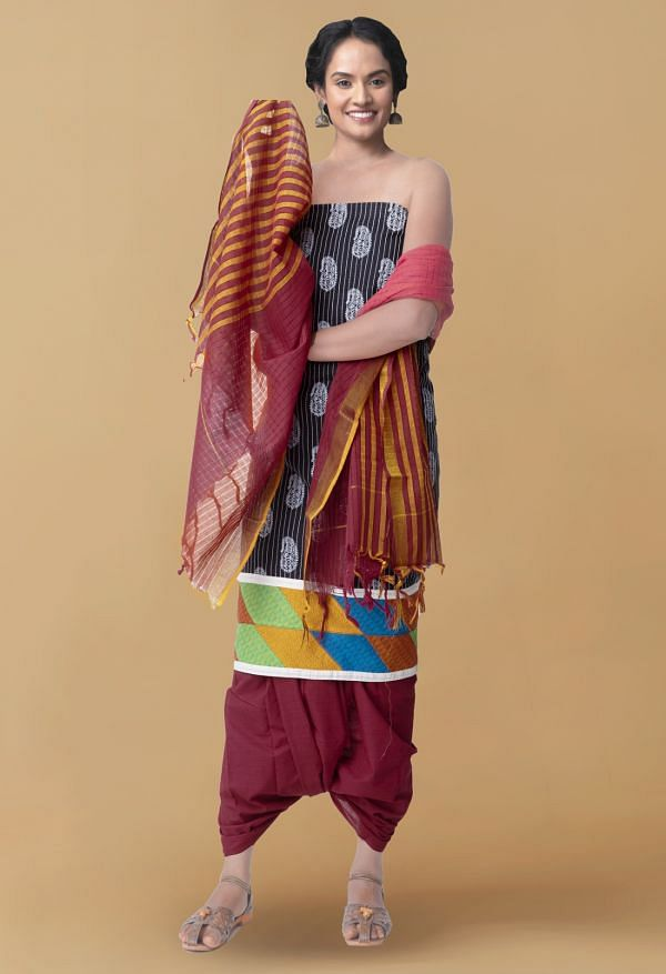 Online Shopping for Unstitched Black-Maroon Pure Kutch Mangalagiri Cotton Fusion Salwar Kameez with Block Prints from Andhra Pradesh at Unnatisilks.com, India