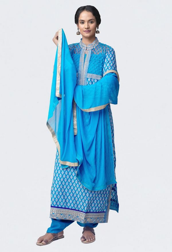 Online Shopping for Semi-Stitched Blue Rajasthani Cotton Salwar Kameez with Block Prints from Rajasthan at Unnatisilks.com, India