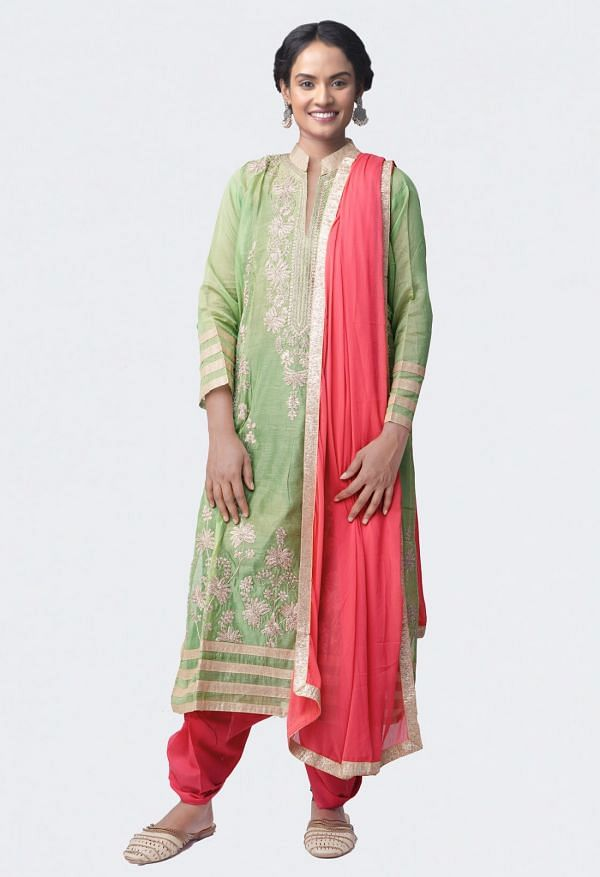 Online Shopping for Semi-Stitched Green-Pink Pure Jaipuri Silk by Cotton Salwar Kameez with Zardozi Work from Rajasthan at Unnatisilks.com, India