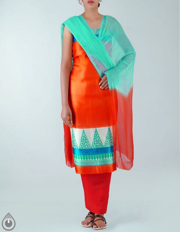 Online Shopping for Unstitched Orange Pure Dupion Silk Salwar Kameez with Hand Block Prints from Jharkhand at Unnatisilks.com, India