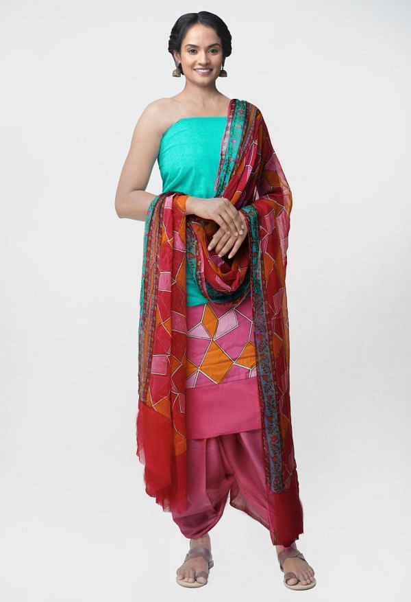 Online Shopping for Unstitched Green-Pink Pure Rajasthani Malmal Cotton Salwar Kameez with Prints from Rajasthan at Unnatisilks.com, India