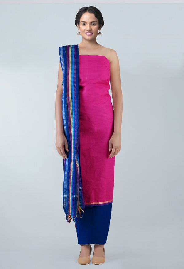 Online Shopping for Unstitched Pink-Blue Pure Cotton Salwar Kameez with Weaving from Andhra Pradesh at Unnatisilks.com, India