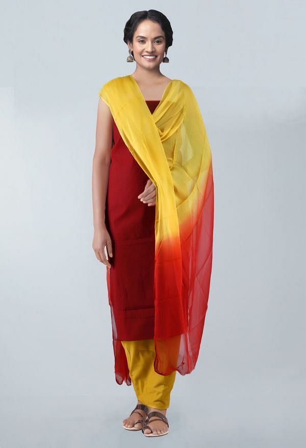 Online Shopping for Unstitched Maroon-Yellow Pure Mangalagiri Cotton Salwar Kameez with Weaving from Andhra Pradesh at Unnatisilks.com, India