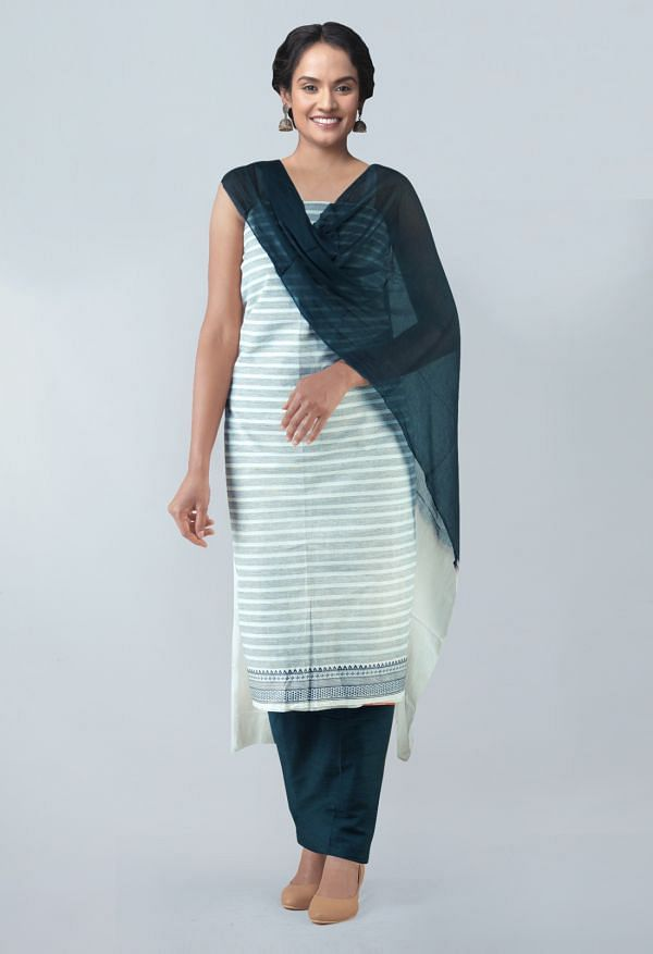 Online Shopping for Unstitched White-Black Pure Mangalagiri Cotton Salwar Kameez with Weaving from Andhra Pradesh at Unnatisilks.com, India