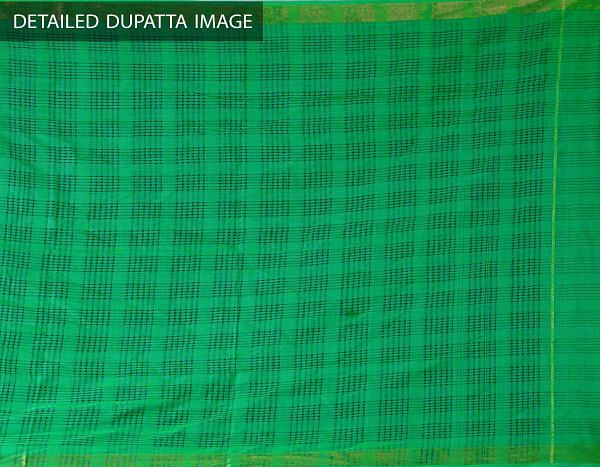 Online Shopping for Unstitched Green Pure Handloom Kanchi Cotton Salwar Kameez with  from Tamilnadu at Unnatisilks.com, India