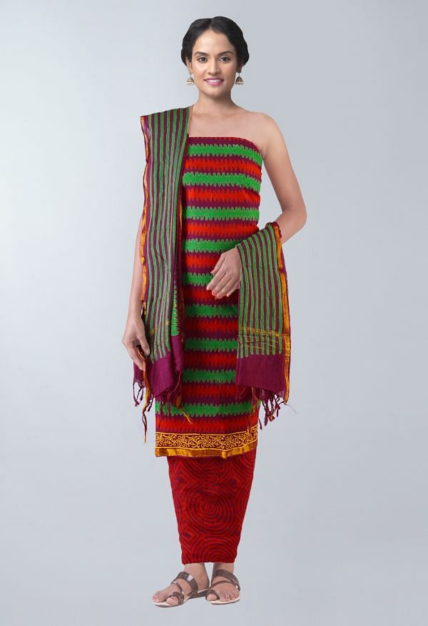 Online Shopping for Unstitched Maroon Pure Rajasthani Cotton Salwar Kameez with Bagru Prints from Rajasthan at Unnatisilks.com, India