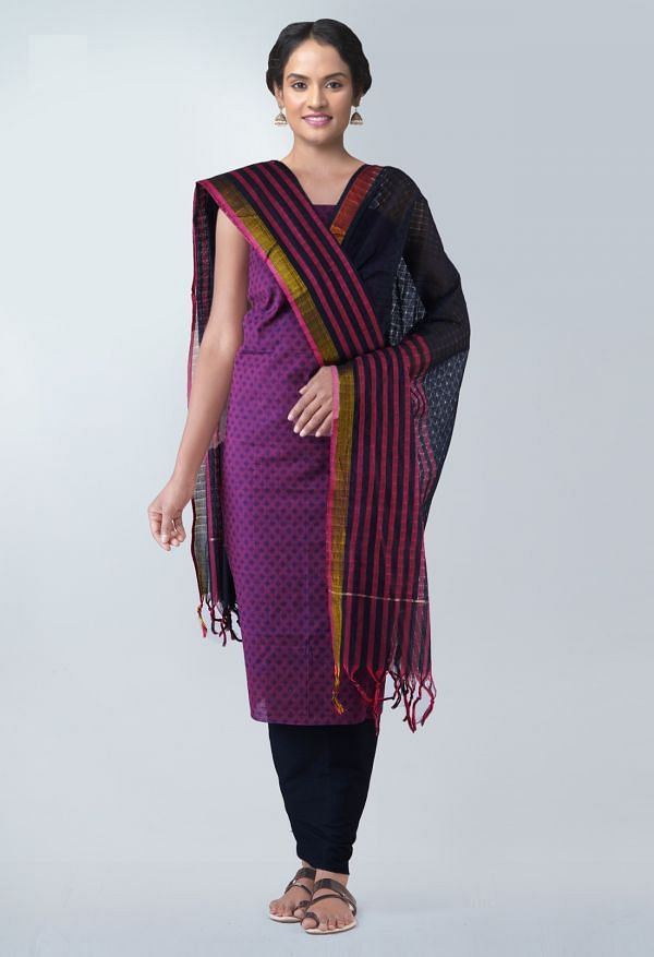 Online Shopping for Unstitched Purple-Black Pure Rajasthani Cotton Salwar Kameez with  from  at Unnatisilks.com, India