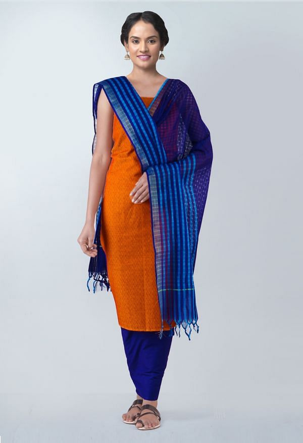 Online Shopping for Unstitched Orange-Blue Pure Rajasthani Cotton Salwar Kameez with  from  at Unnatisilks.com, India
