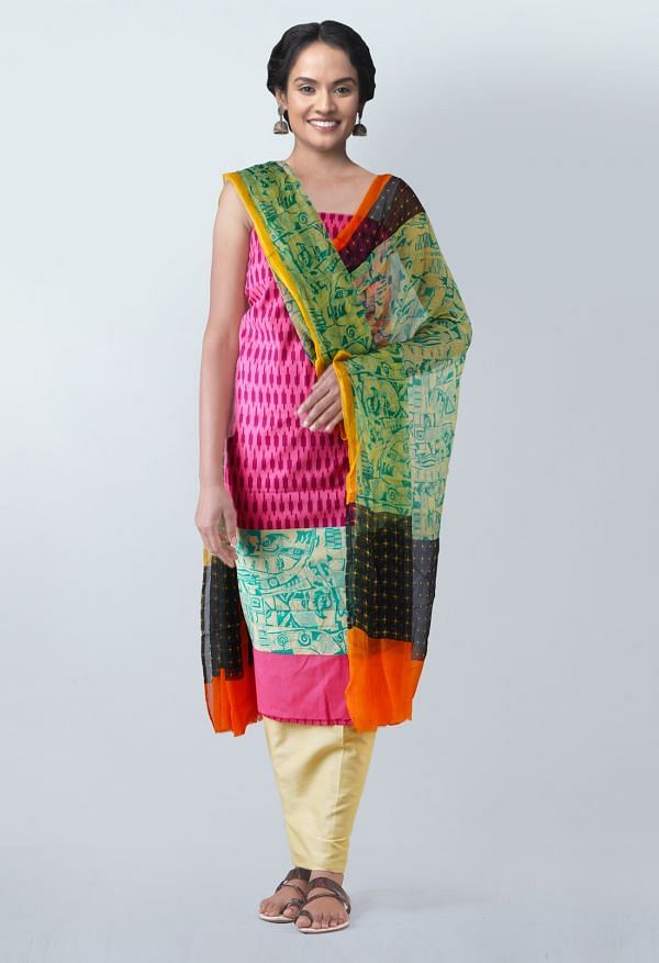 Online Shopping for Unstitched Pink-Yellow Pure Rajasthani Malmal Cotton Salwar Kameez with  from  at Unnatisilks.com, India