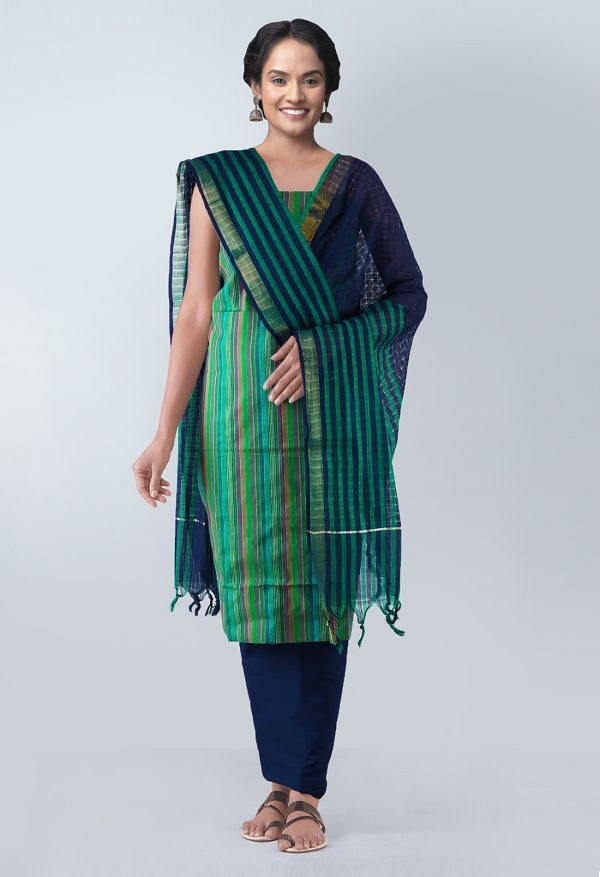 Online Shopping for Unstitched Multicolor-Green Pure Mangalagiri Cotton Salwar Kameez with weaves from  at Unnatisilks.com, India