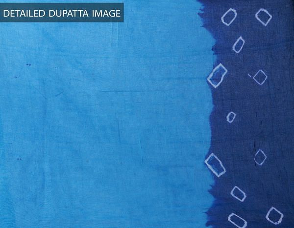 Unstitched Yellow-Blue Pure Rajasthani Cotton Salwar Kameez