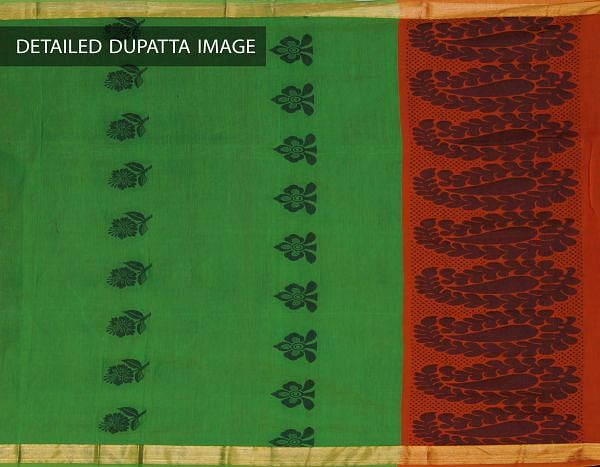Online Shopping for Unstitched Orange-Green Pure Handloom Uppada Sico Salwar Kameez with Weaves from Andhra Pradesh at Unnatisilks.com, India