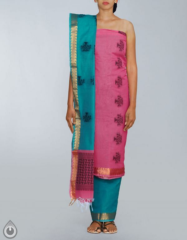 Online Shopping for Unstitched Pink-Green Pure Handloom Uppada Sico Salwar Kameez with Weaves from Andhra Pradesh at Unnatisilks.com, India