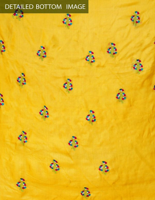 Online Shopping for Unstitched Yellow-Red Pure Handloom Tussar Silk Salwar Kameez with Embroidery from  at Unnatisilks.com, India