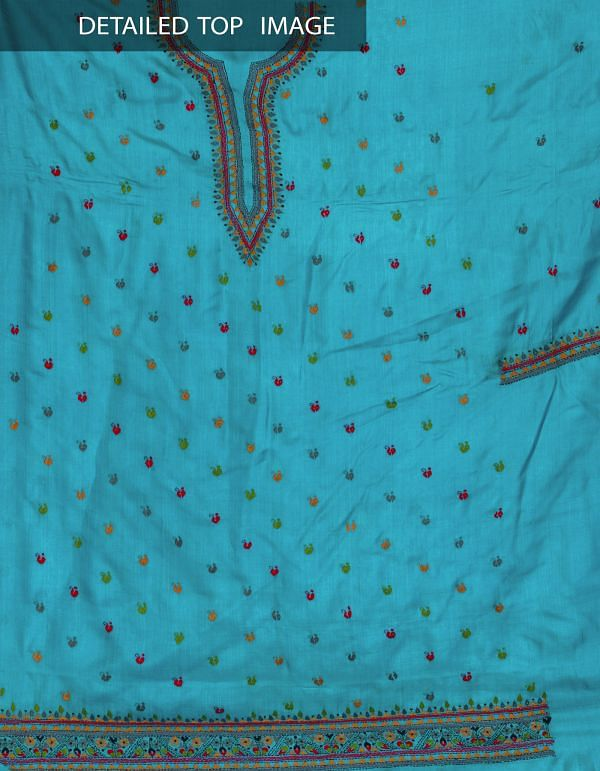 Online Shopping for Unstitched Blue-Grey Pure Handloom Tussar Silk Salwar Kameez with Kantha from  at Unnatisilks.com, India