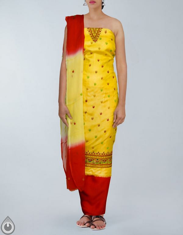 Online Shopping for Unstitched Yellow-Red Pure Handloom Tussar Silk Salwar Kameez with Kantha from  at Unnatisilks.com, India
