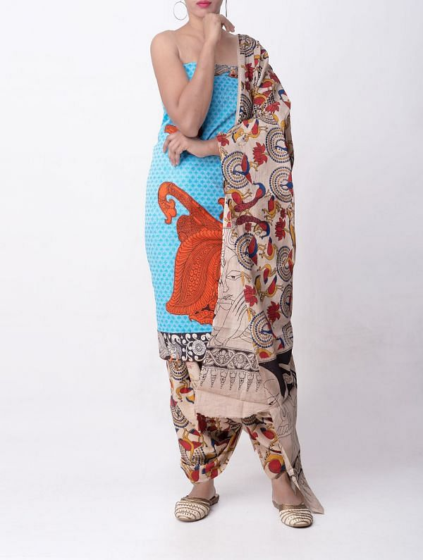 Unstitched Blue-Cream Pure Kalamkari Cotton Applique Work Salwar Kameez