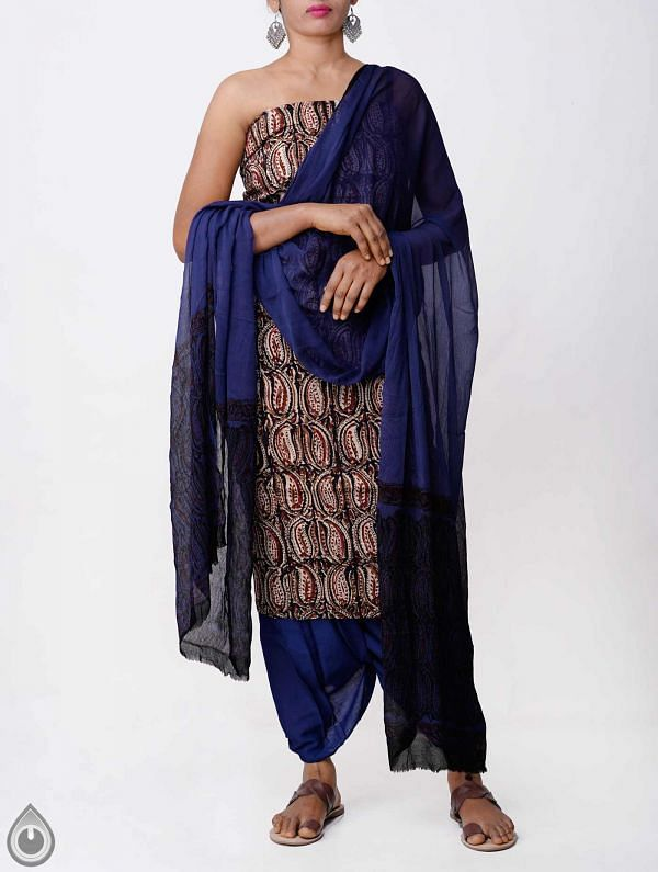 Unstitched Black-Blue Bagru printed Rajasthani Cotton Salwar Kameez