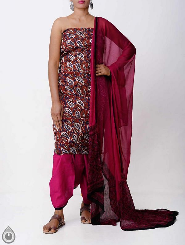 Unstitched Brown-Pink Bagru printed Rajasthani Cotton Salwar Kameez