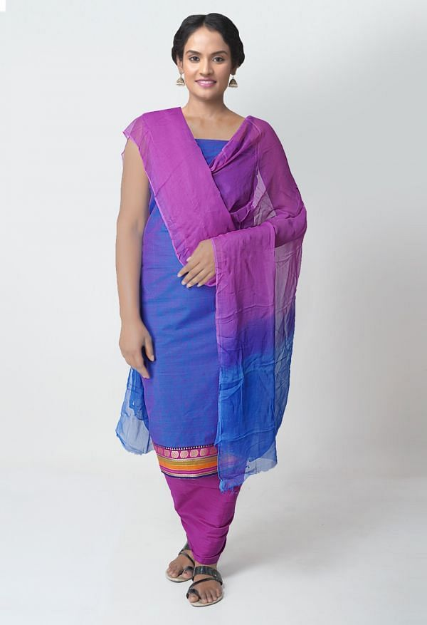 Online Shopping for Unstitched Blue-Pink Mangalagiri Cotton Salwar Kameez with Weaving  from Andhra Pradesh at Unnatisilks.com India