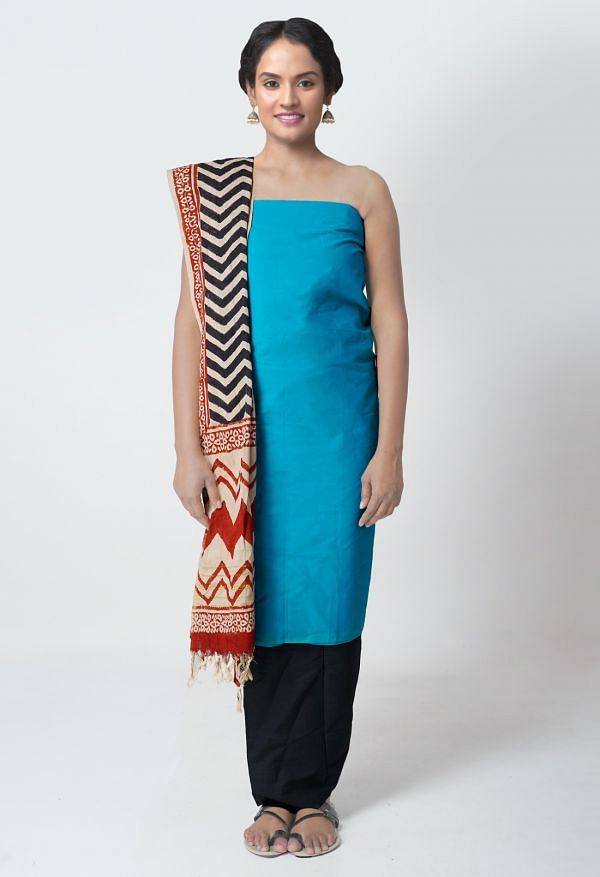 Online Shopping for Unstitched Blue-Black Rajasthani Cotton Salwar Kameez with Weaving from Rajasthan at Unnatisilks.comIndia